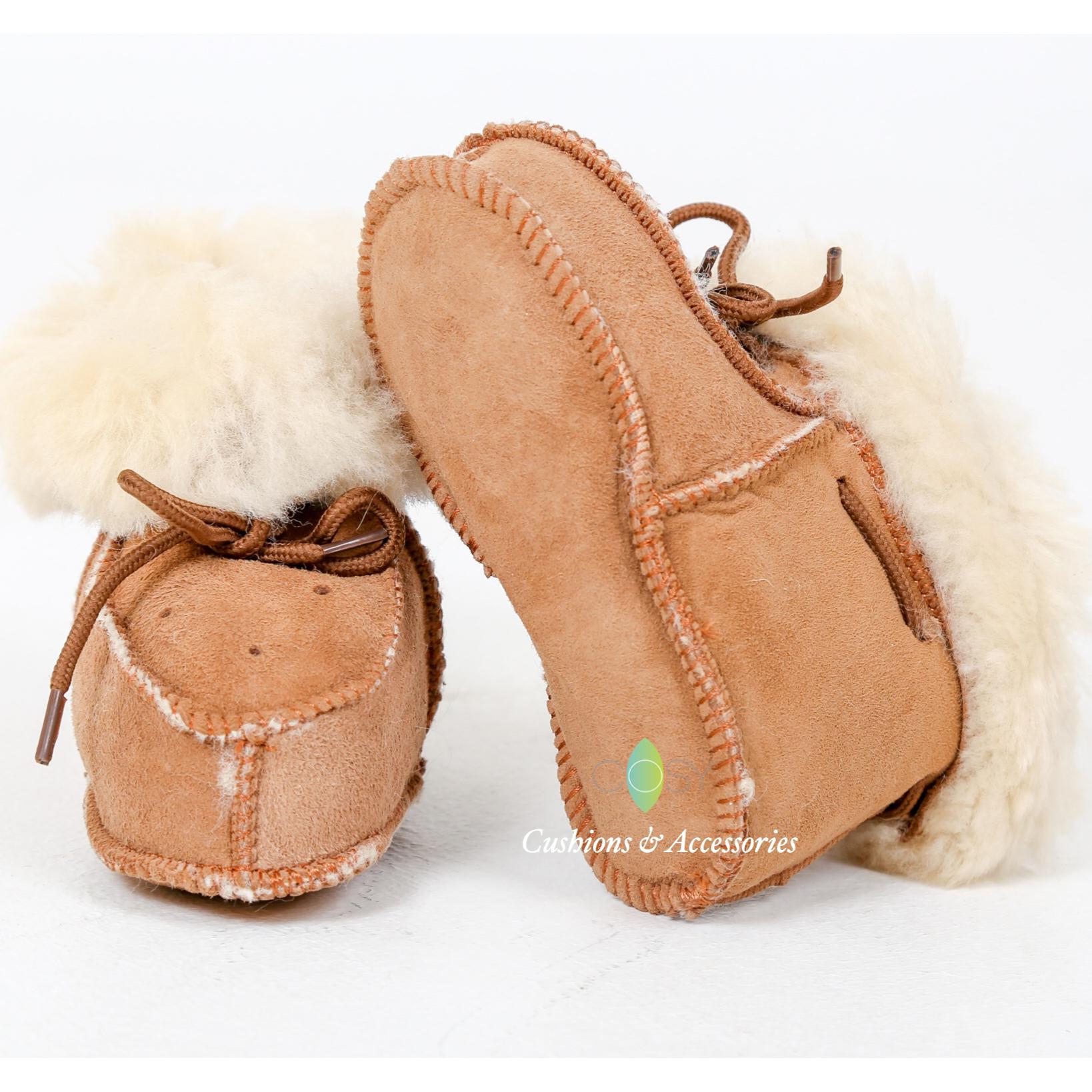 Chestnut Baby Toddler Merino Sheepskin Slippers Warm